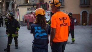 An IsraAID team member in Italy. Photo via IsraAID Facebook page
