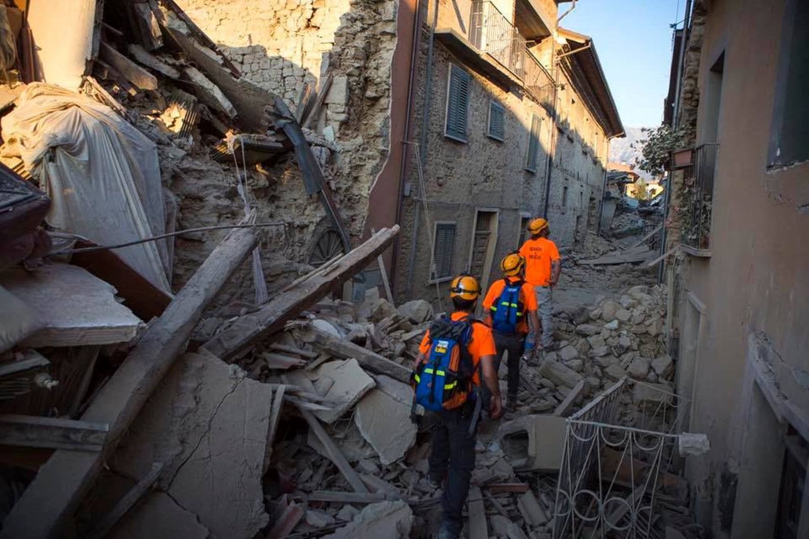 Israelis arrive to help local crews deal with the devastation in Amatrice. Photo via IsraAID Facebook page