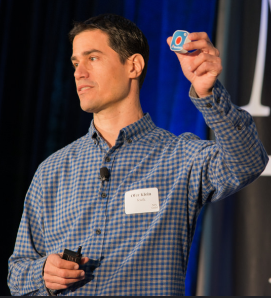 Kwik CEO Ofer Klein with a Kwik button. Photo: courtesy
