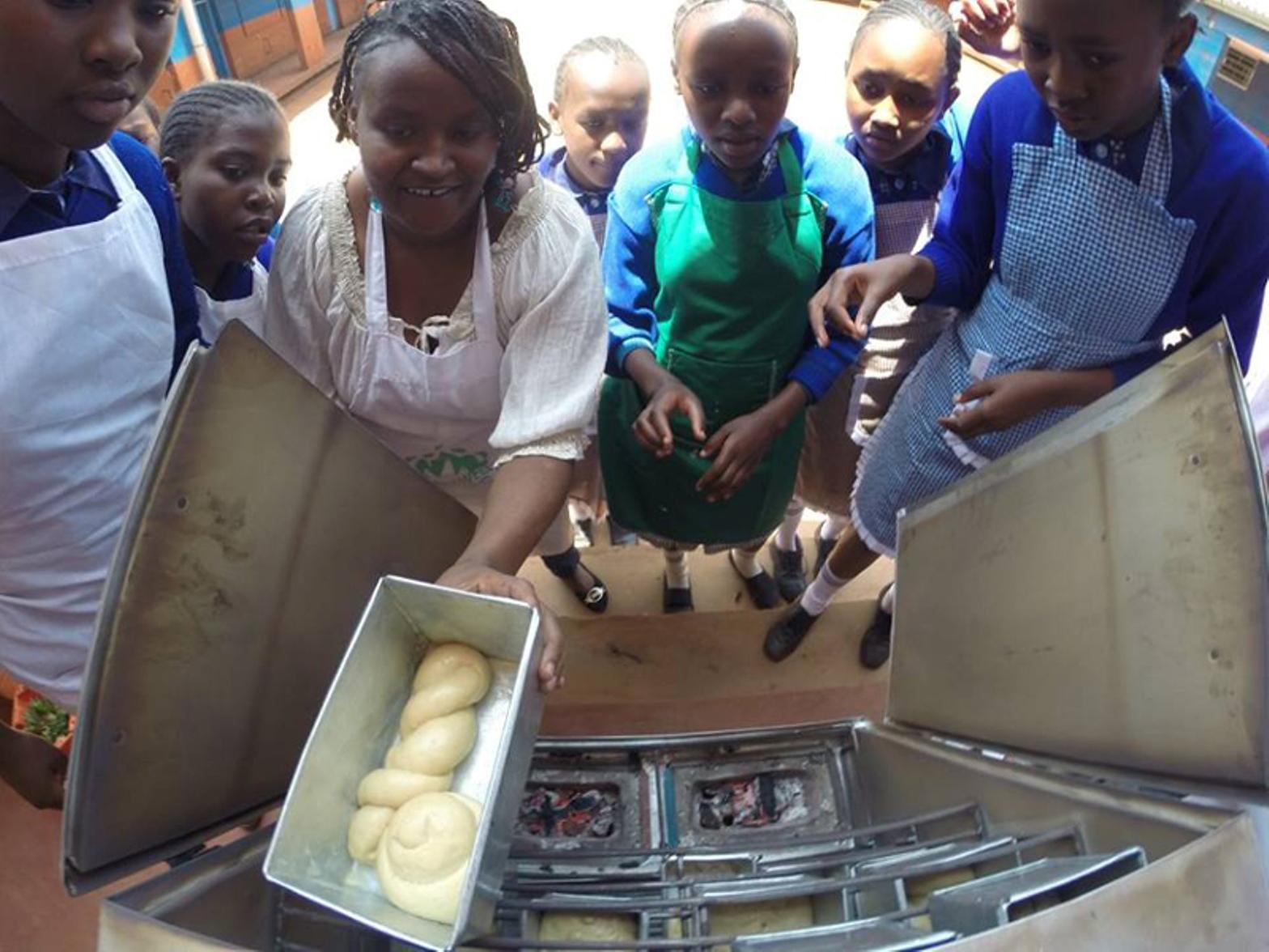 Baking bread at Farasi Lane Primary School. Photo courtesy of MASHAV