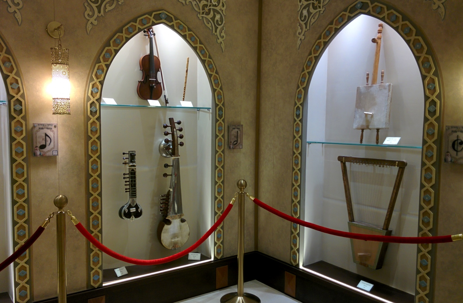 Cap musicmuseum-instruments: Some of the unusual authentic instruments at the Hebrew Music Museum in Jerusalem. Photo by Abigail Klein Leichman
