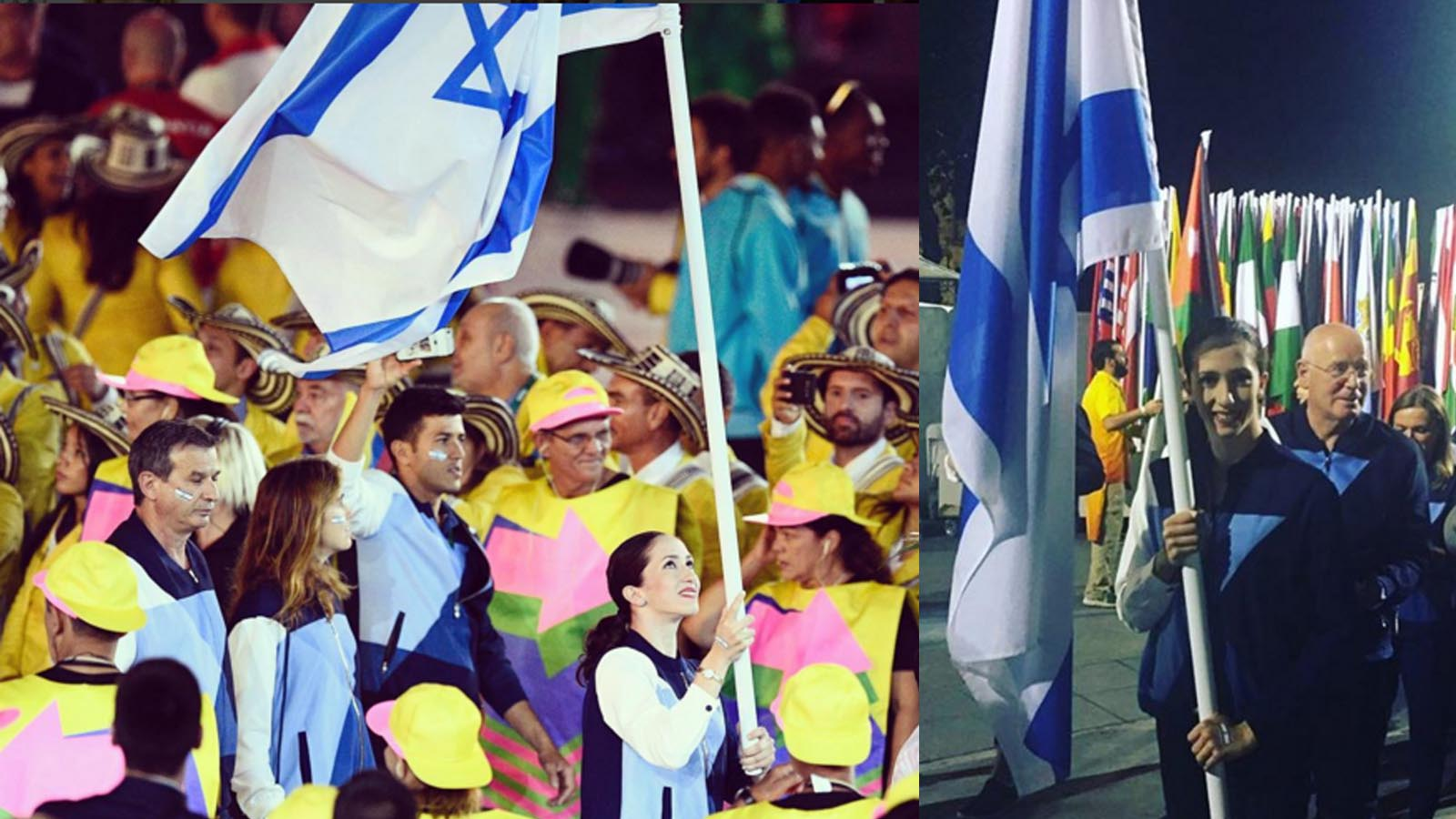 Gymnast Neta Rivkin carries the Israeli flag during the opening ceremony of the Rio Olympics. Photo via instagram.com/olympicteamisrael