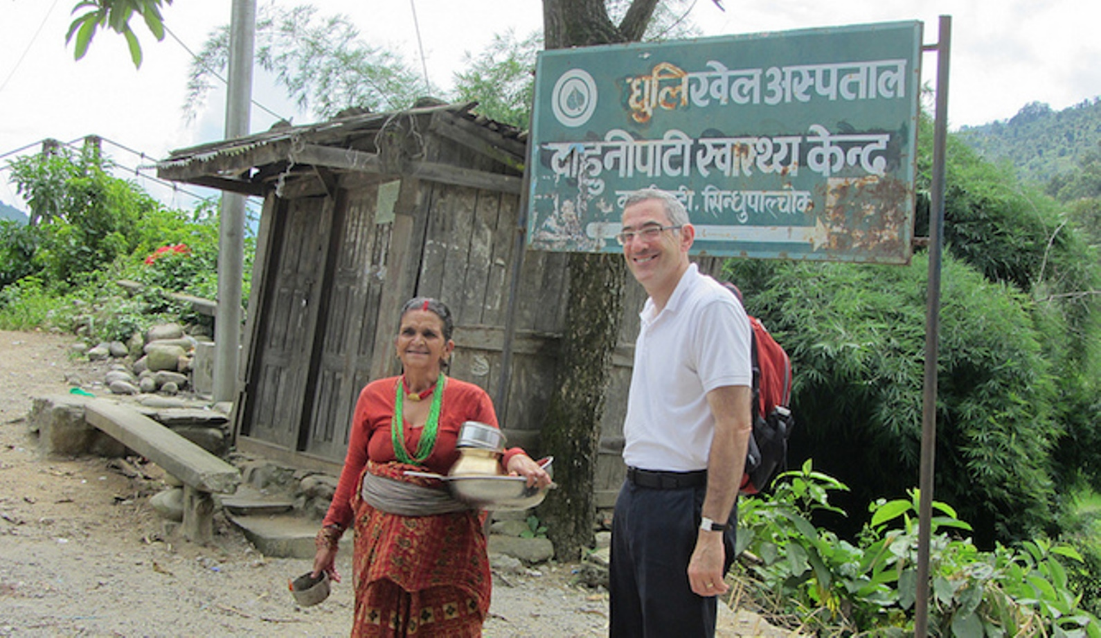 Prof. Yehuda Neumark from the School of Public Health inaugurating a public-health project in 2011 in Kathmandu. Photo: courtesy