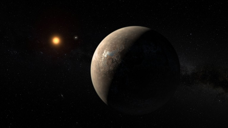 Artist's impression shows the exoplanet Proxima b, which orbits the red dwarf star Proxima Centauri. The double star Alpha Centauri AB appears in the image between the exoplanet and its star. Credit: ESO/M.Kornmesser