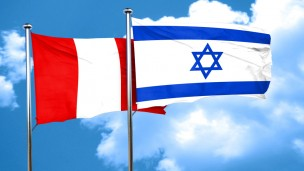 Peruvian and Israeli flags. Photo via Shutterstock.com