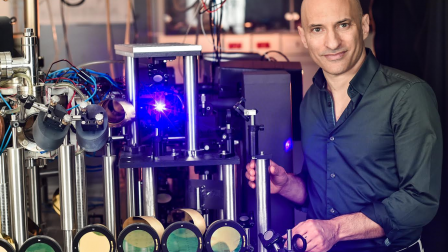 The blue light emanates from the location of the sonic black hole in Prof. Jeff Steinhauer's Atomic Physics Lab at the Technion-Israel Institute of Technology. Photo: courtesy