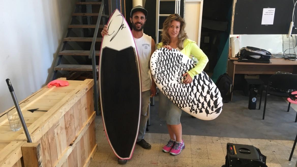 Fashion designer Chana Weinberg and surfboard maker Gal Larar. Photo: courtesy