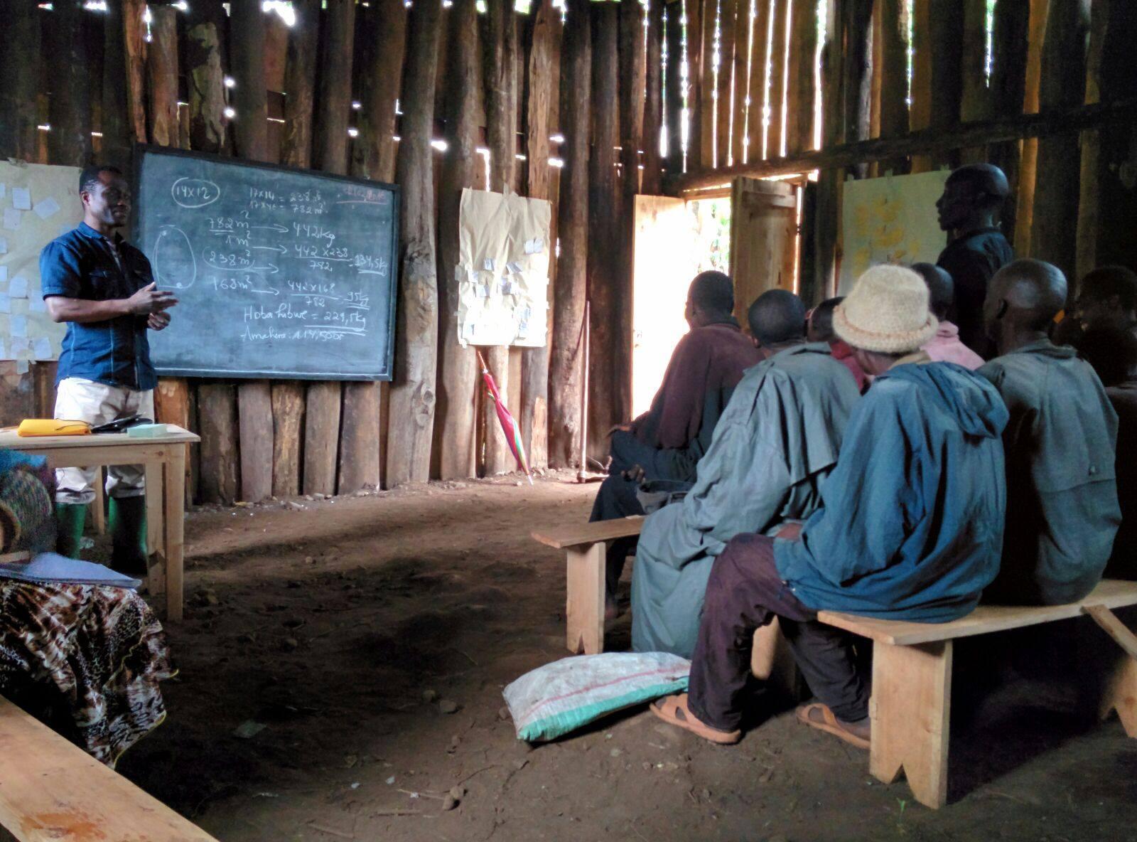 Tevel b'Tzedek training potato farmers in Burundi. Photo via Facebook