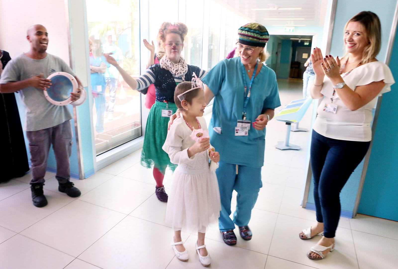 """Syrian girl, """"B"""", says goodbye to her Israeli caregivers at Rambam Health Care Campus. Photo courtesy"""
