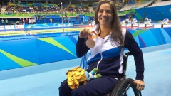 Team Israel's Inbal Pezaro with her bronze medal on Sept. 15, 2016. Photo by Keren Isaacson/Israel Paralympic Committee