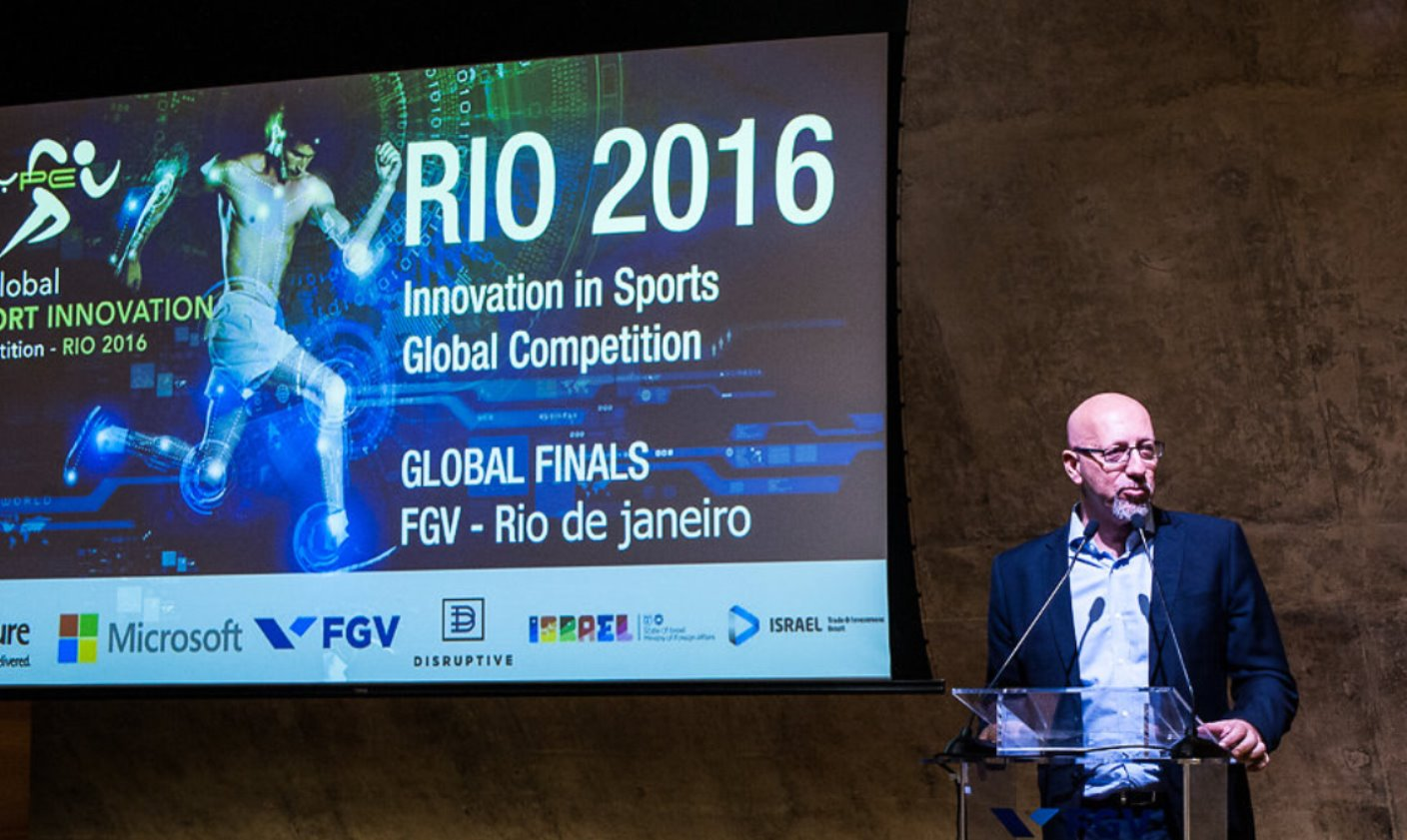 Amir Raveh, CEO of the Hype Foundation, at the Rio sports-tech startup competition. Photo: courtesy