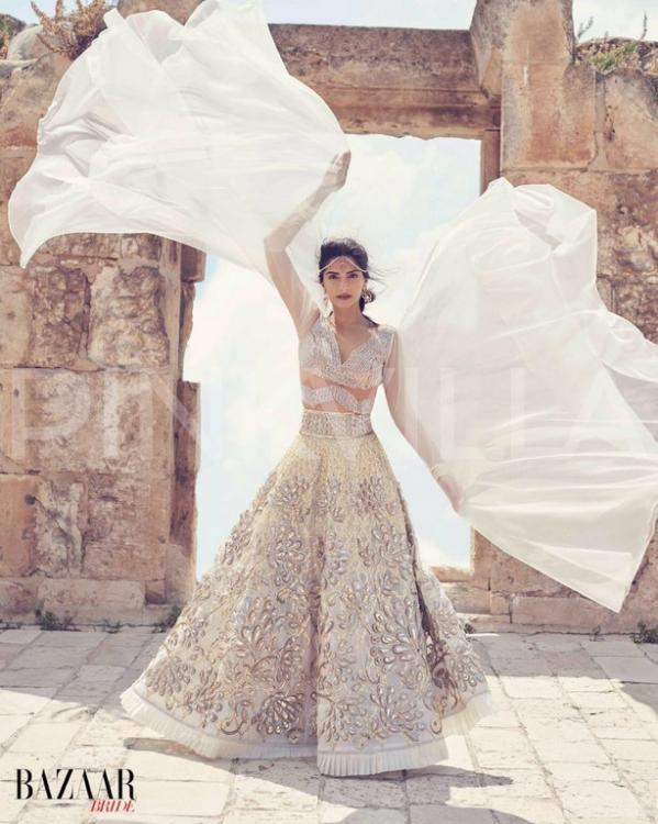 Bollywood fashion icon Sonam Kapoor dons Israeli designs on cover of Harpers Bazaar Bride India magazine. Photo via Harpers Bazaar