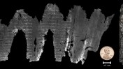 The charred scroll from Ein Gedi that experts digitally unwrapped. Photo courtesy of Brent Seales