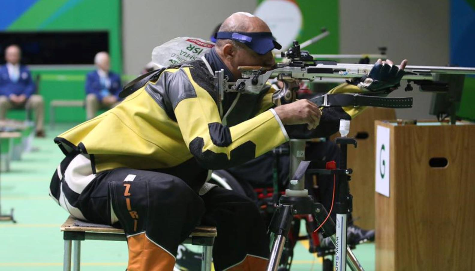Doron Shaziri in the men's 50-meter rifle three-position final on Monday, September 12. Photo by Keren Isaacson