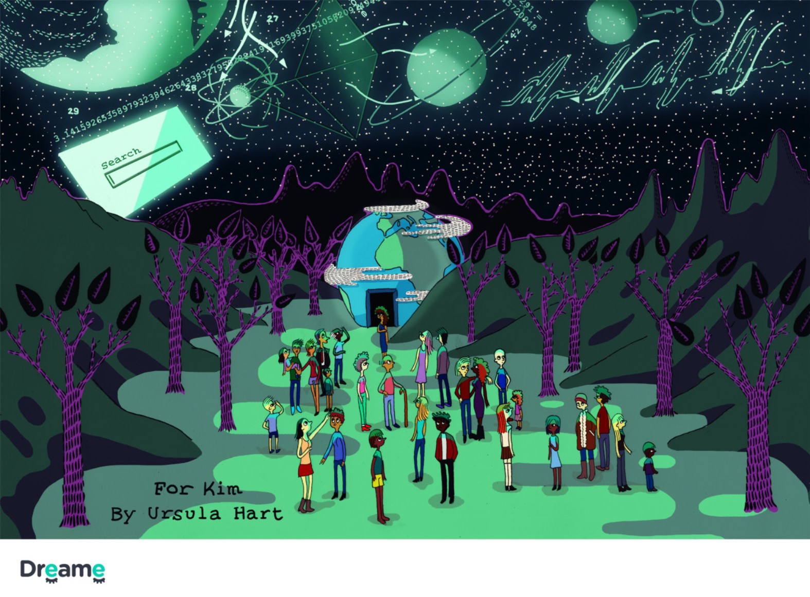 """A Dreame client in San Francisco asked Ursula Hart to illustrate this story: """"Characters were me and the rest of the humans on this planet. We were located in the valley somewhere. We were walking around at night, and then all of a sudden Google projected the stars in the sky, their names, their meaning, and other space calculations in the sky so that the planet could better understand math, science, and space. It was after dark, and the sky was glowing with information. We were feeling smart and in awe that something could project that far into the sky."""" Photo courtesy of Dreame"""