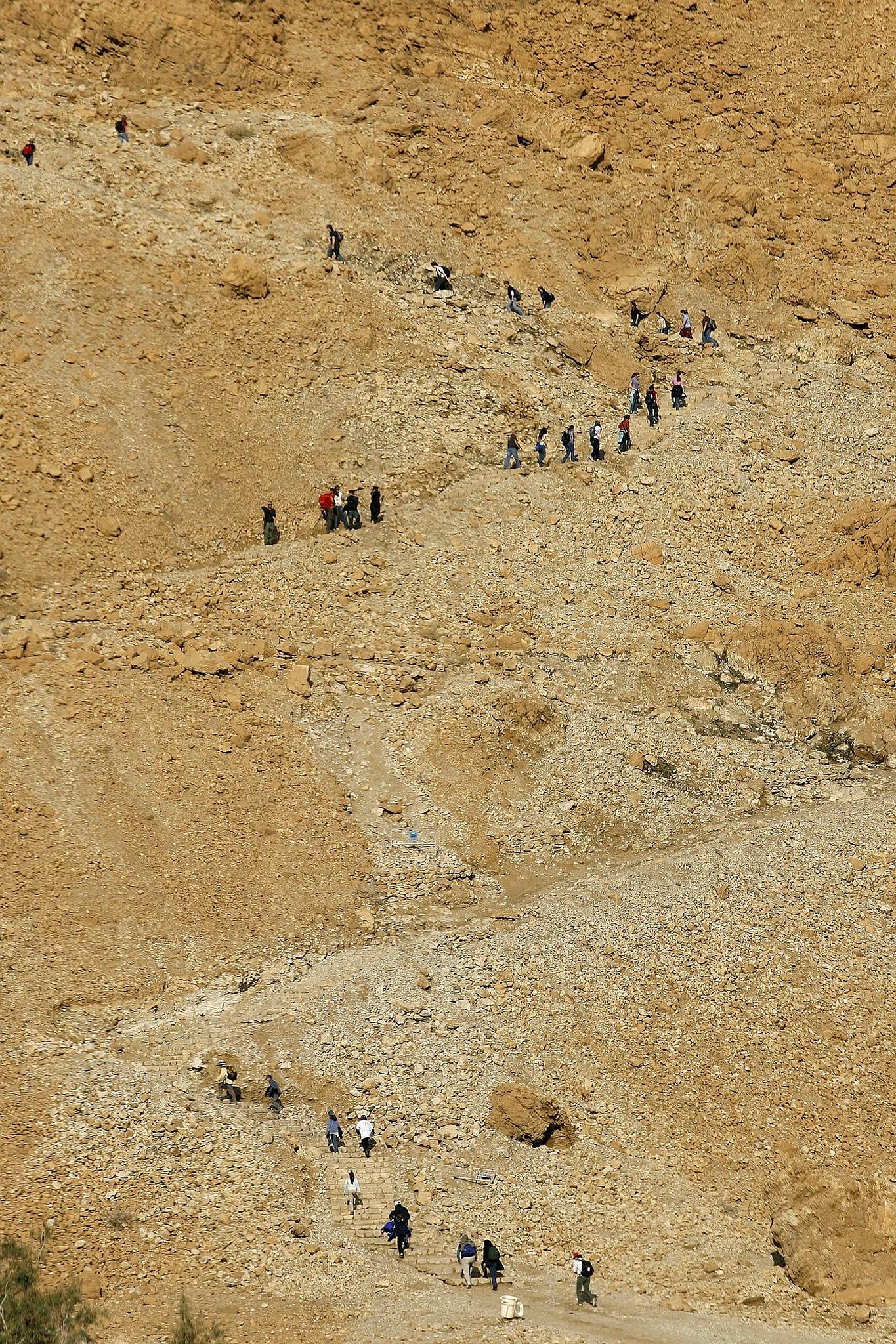 Hiking the snake trail at Masada. Photo by Moshe Shai/Flash90