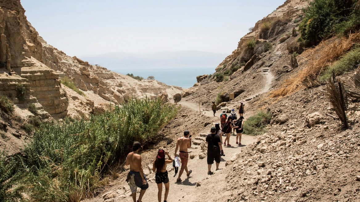 Hikers at the Ein Gedi Nature Reserve near the Dead Sea. Photo by Zack Wajsgras/Flash90