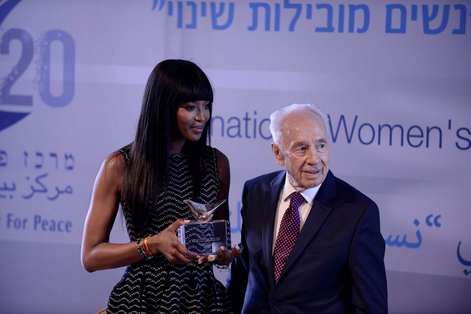 Model Naomi Campbell met former Israeli president Shimon Peres for the International Woman's Day, at Peres Center for Peace in Jaffa, earlier this year. Photo by Tomer Neuberg/Flash90