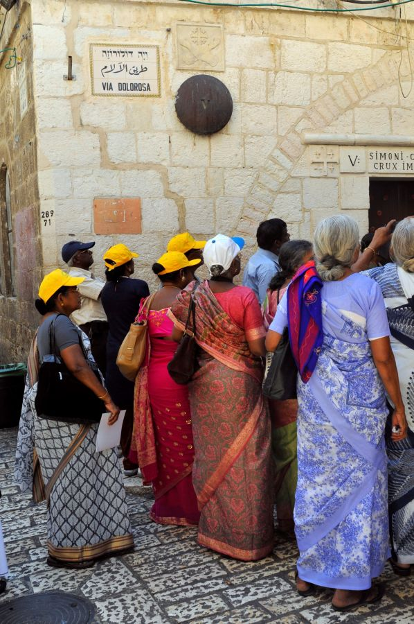 Indian tourists on the Via Dolorosa in the Old City of Jerusalem. Photo by Serge Attal/FLASH90