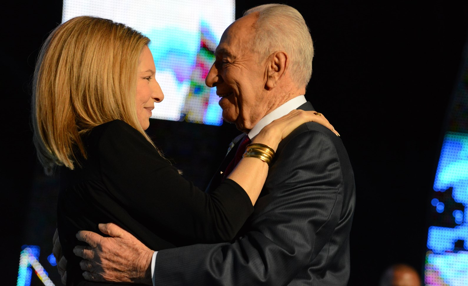 Barbra Streisand congratulating then Israeli President Shimon Peres during his 90th birthday celebration in 2013. Photo by Kobi Gideon/GPO/FLASH90