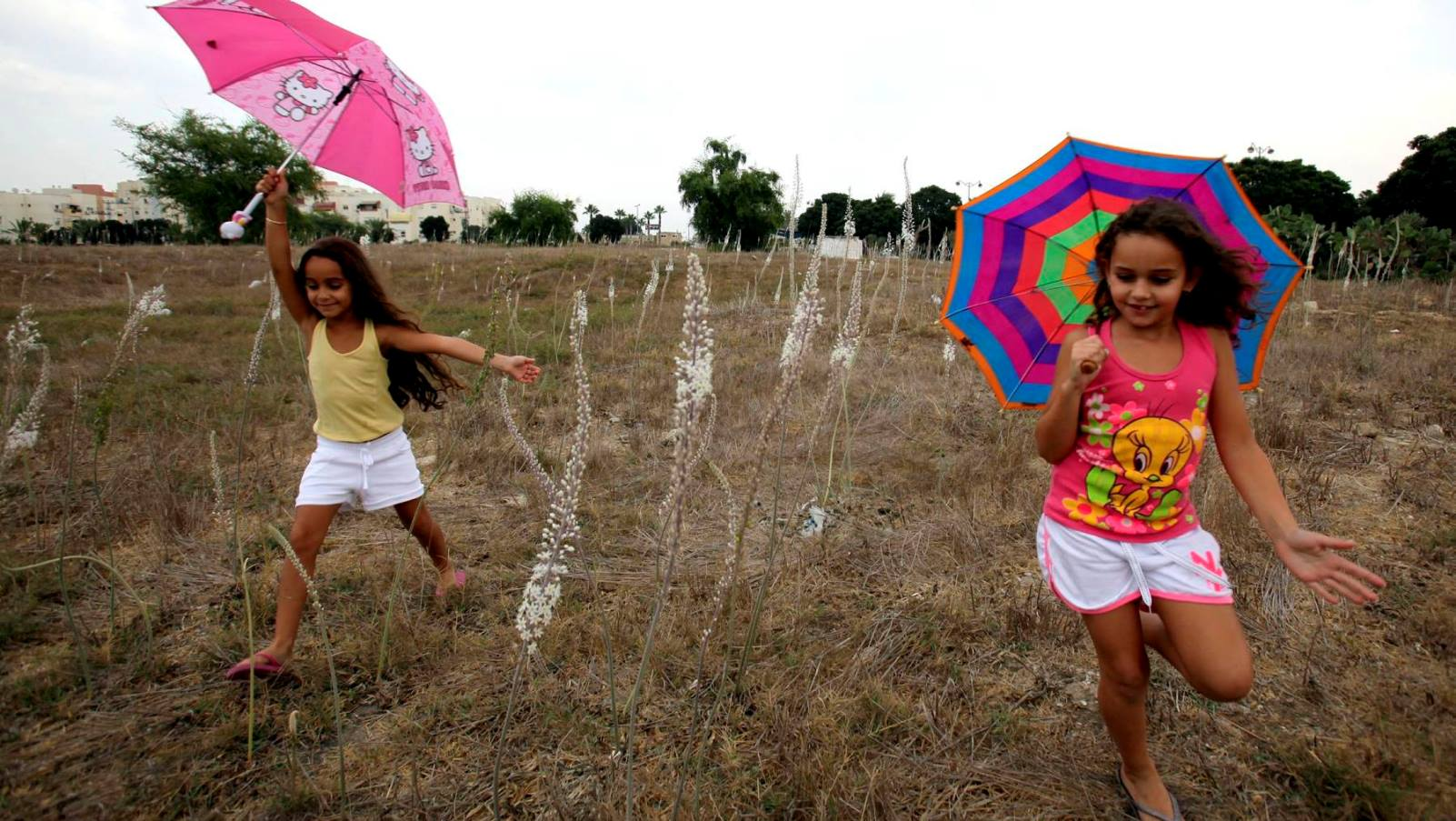 Children in Ashkelon celebrating the first rain of the season. Photo by Edi Israel/FLASH90