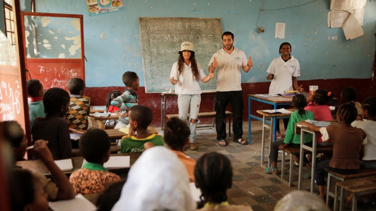Fighters for Life volunteers teaching English in Ethiopia. Photo courtesy of FFL