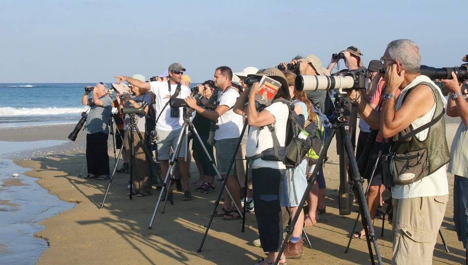 Birdwatchers in Ma'agan Michael, Israel. Photo by Jonathan Meyrav