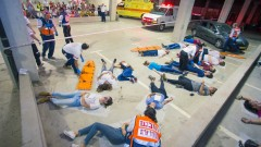 Conference delegates watched a mass-casualty drill in Modi'in to see how MDA operates. Photo: courtesy