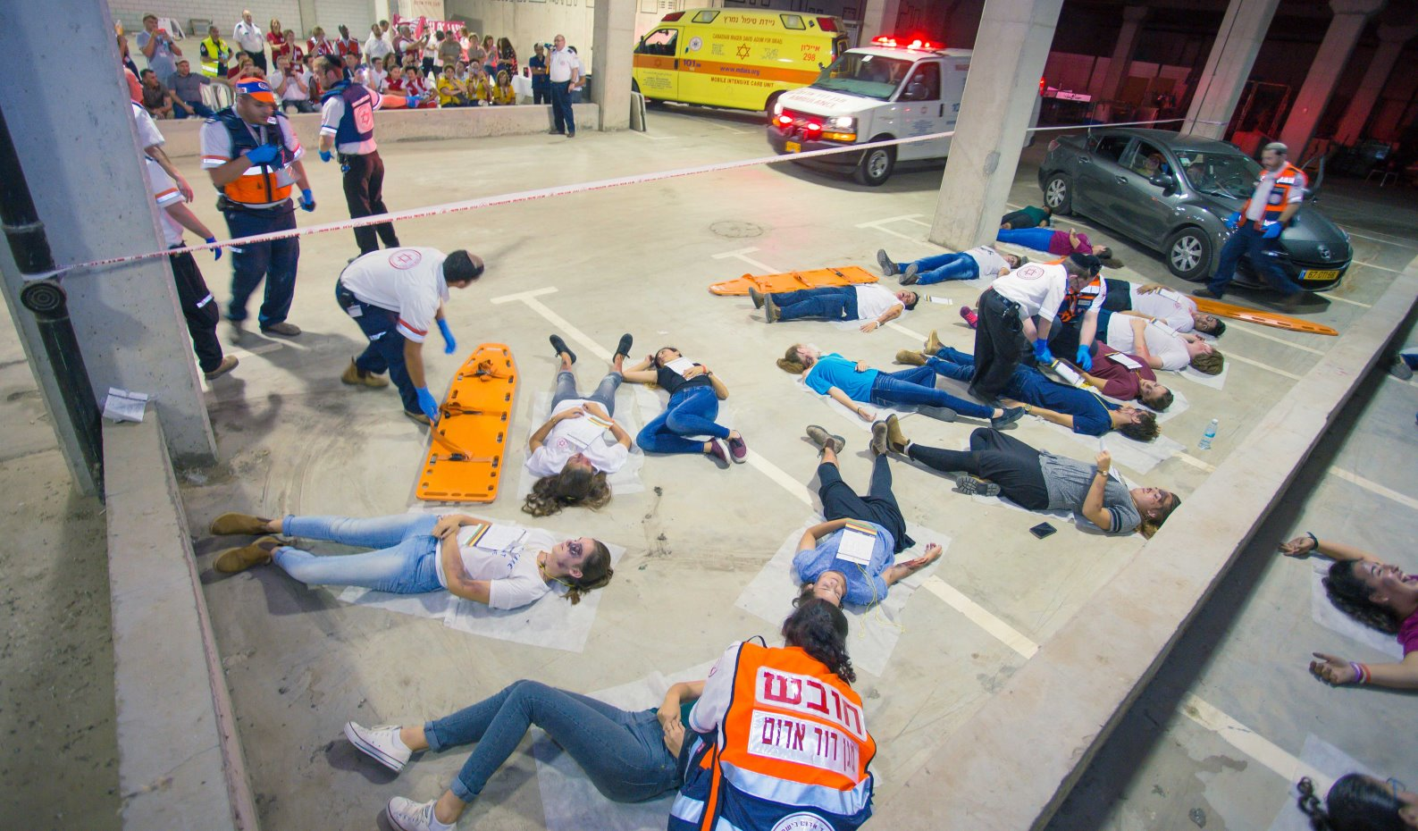 Cap: Conference delegates watched a mass-casualty drill in Modi'in to see how MDA operates. Photo: courtesy