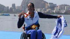 Moran Samuel with her bronze medal, Israel's first in the 2016 Paralympics. Photo by Keren Isaacson