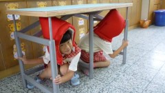 Israeli earthquake-resistant tables in schools in Taiwan. Photo via facebook.com/IsraelinTaipei