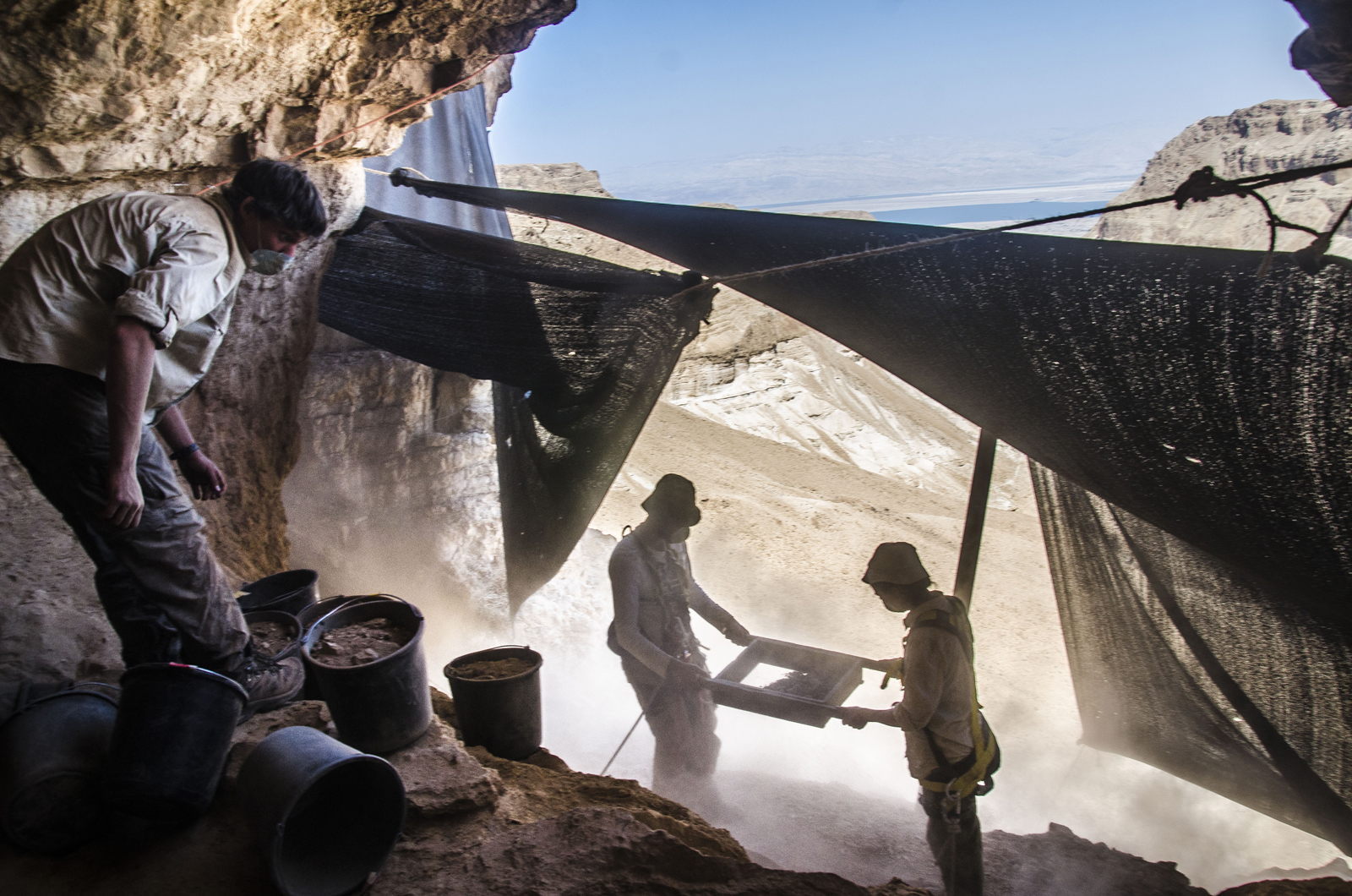 Israel Antiquities Authority has been conducting an archaeological excavation in search of ancient artifacts in the Cave of the Skulls in the Judean Desert. Photo by Yoli Shwartz, courtesy of the Israel Antiquities Authority.