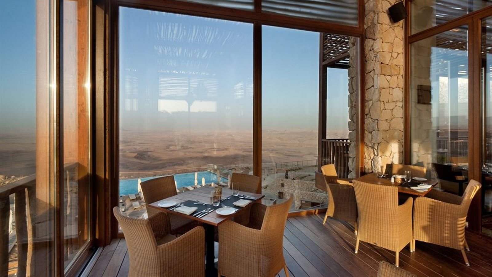 Dining at the Beresheet Hotel in Mitzpeh Ramon overlooking the Ramon Crater. Photo: courtesy