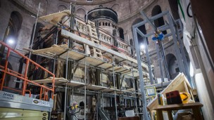 Renovation work at the Church of the Holy Sepulchre, believed to be the site where Jesus was buried and resurrected, in Jerusalem's Old City, on August 22, 2016. Photo by Hadas Parush/Flash90