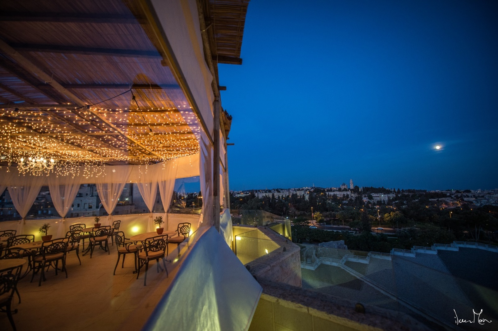 The balcony sukkah at the Inbal Hotel, overlooking Jerusalem. Photo: courtesy