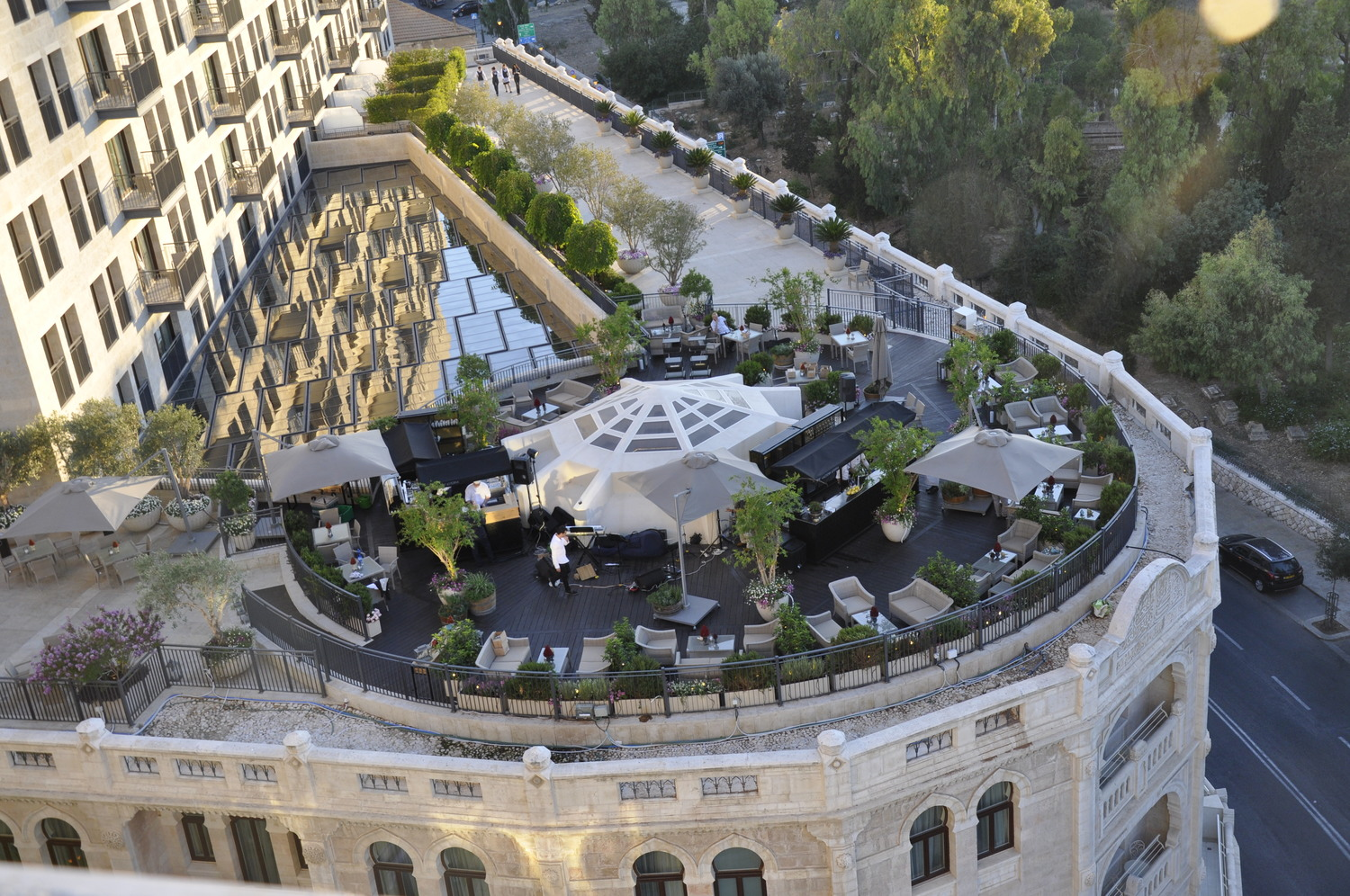 The Garden Terrace at the Waldorf Astoria Jerusalem. Photo courtesy of Delicious Israel