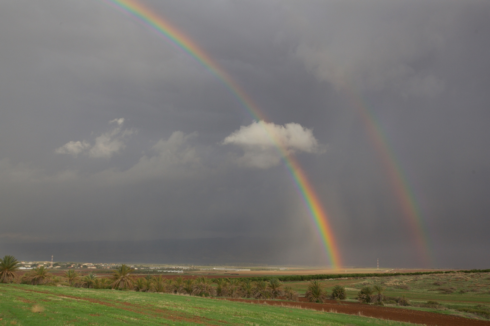 A double rainbow over the Beit She'an Valley, November 21, 2014. Photo by Photo by Doron Horowitz/FLASH90