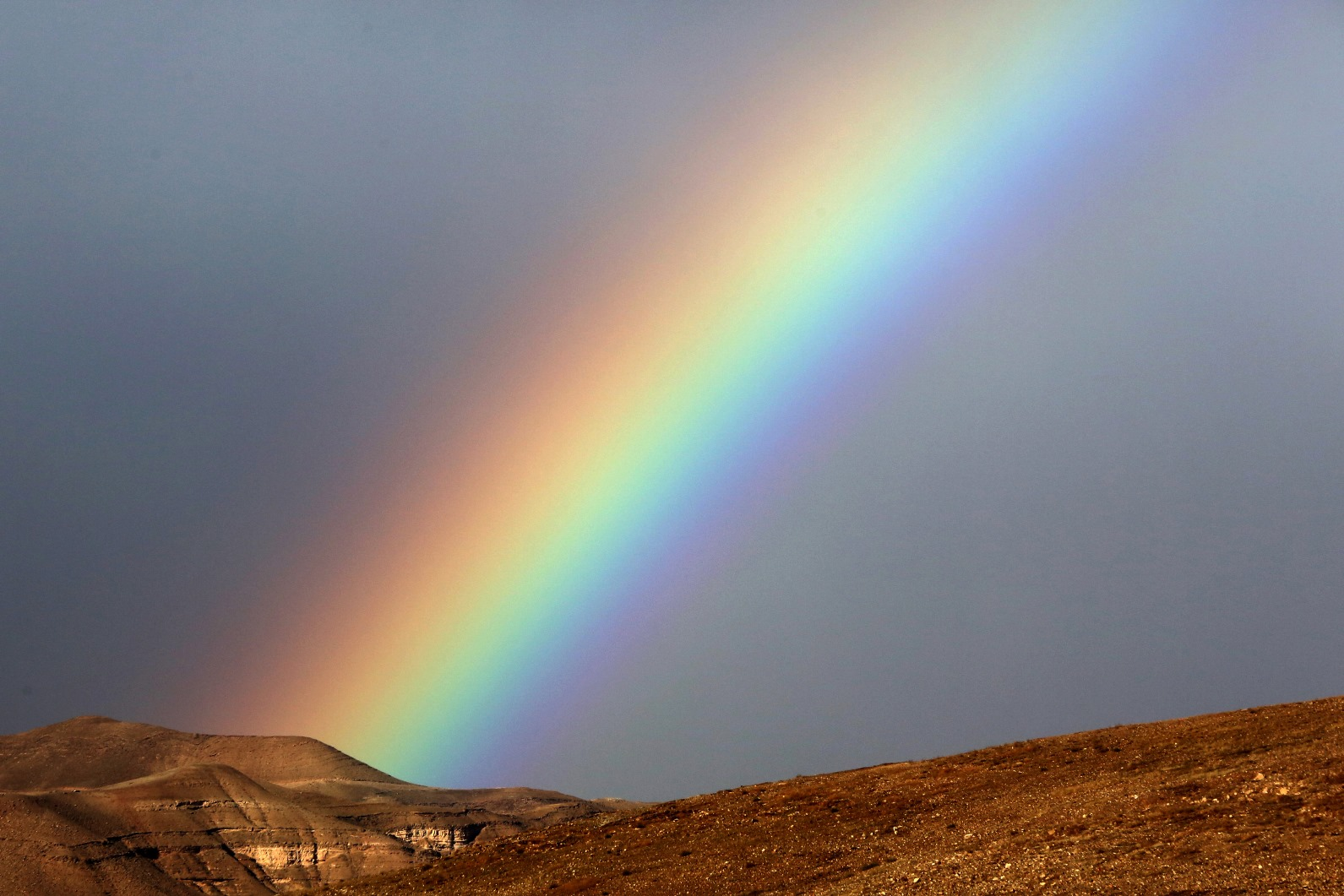 A rainbow appears after heavy rain in the Judean Desert, January 1, 2016. Photo by Yossi Zamir/FLASH90