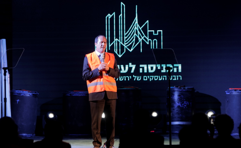 Jerusalem Mayor Nir Barkat speaking at the cornerstone-laying ceremony on October 26, 2016. Photo by Tomer Zmora