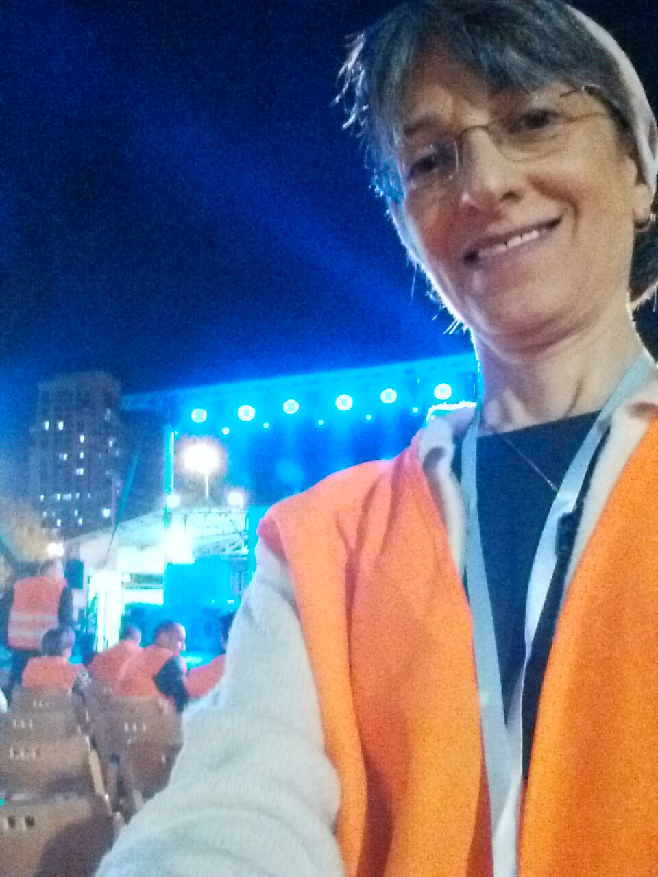 ISRAEL21c Associate Editor Abigail Klein Leichman in her orange vest at the cornerstone-laying event, October 26, 2016. Photo: selfie