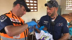 United Hatzalah Paramedic Dovi Maisel and CEO Eli Rowe of Jet911 treating patients in Haiti this week. Photo courtesy of United Hatzalah
