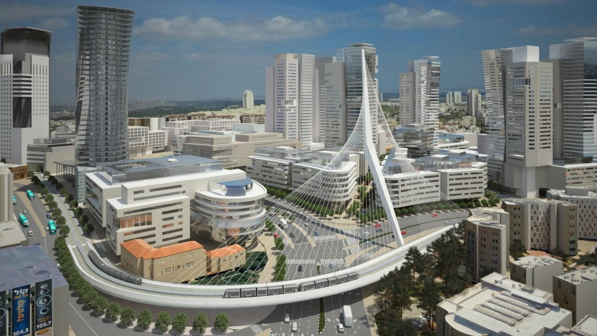 Architect's rendering of the Jerusalem Gateway complex. Image courtesy of Dagan Solutions