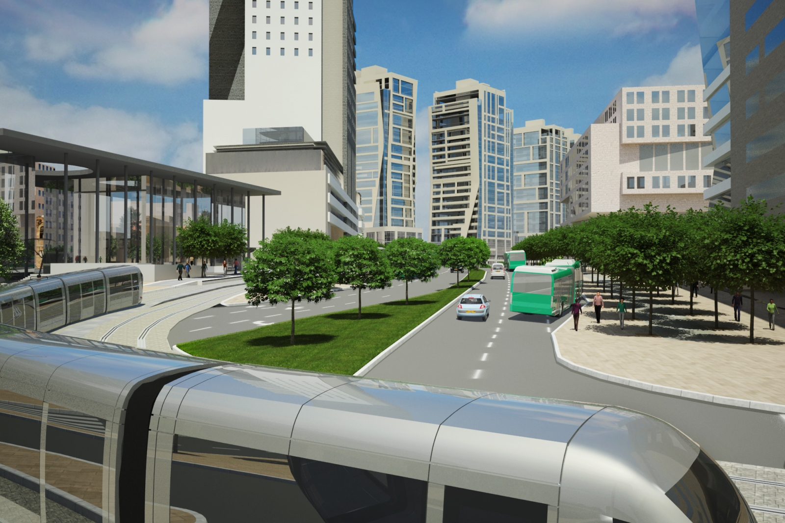 Architect's rendering of the street view of Jerusalem Gateway. Image courtesy of Dagan Solutions