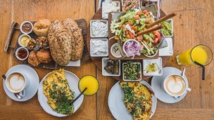 Mediterranean breakfast in Tel Aviv. Photo via Shutterstock