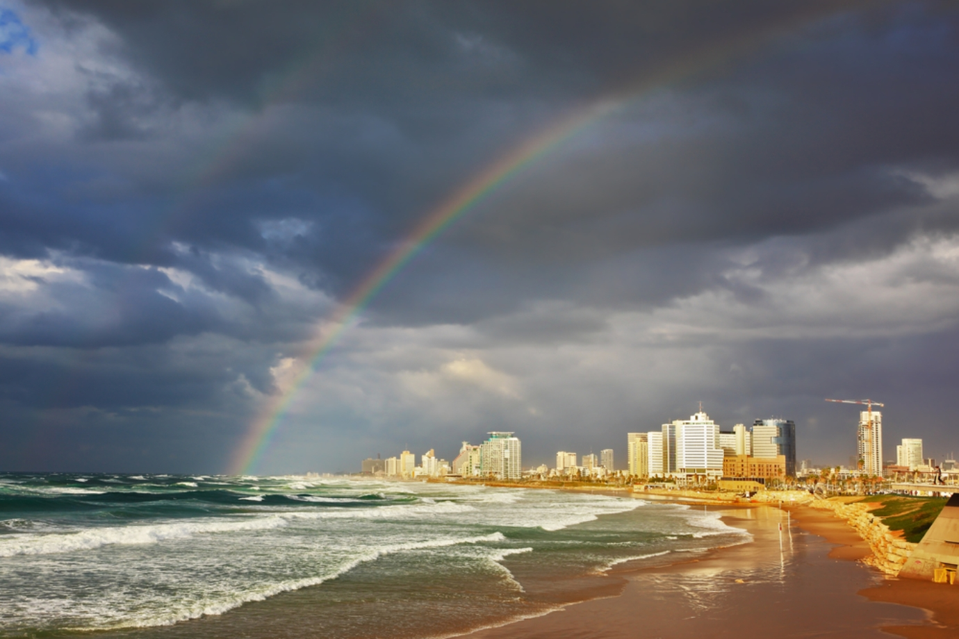 A rainbow lights up the promenade in Tel Aviv. Photo via Shutterstock.com