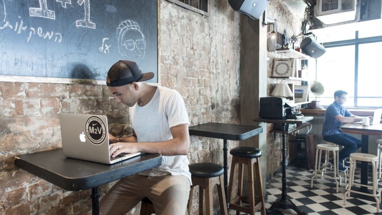Working in a Pub Hub location in Tel Aviv. Photo: courtesy