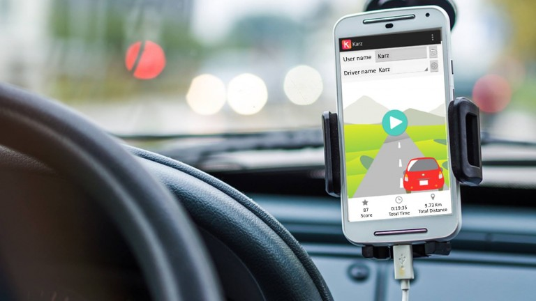Karz smartphone application helps reduce the risk of accidents for drivers.  Photo via Facebook