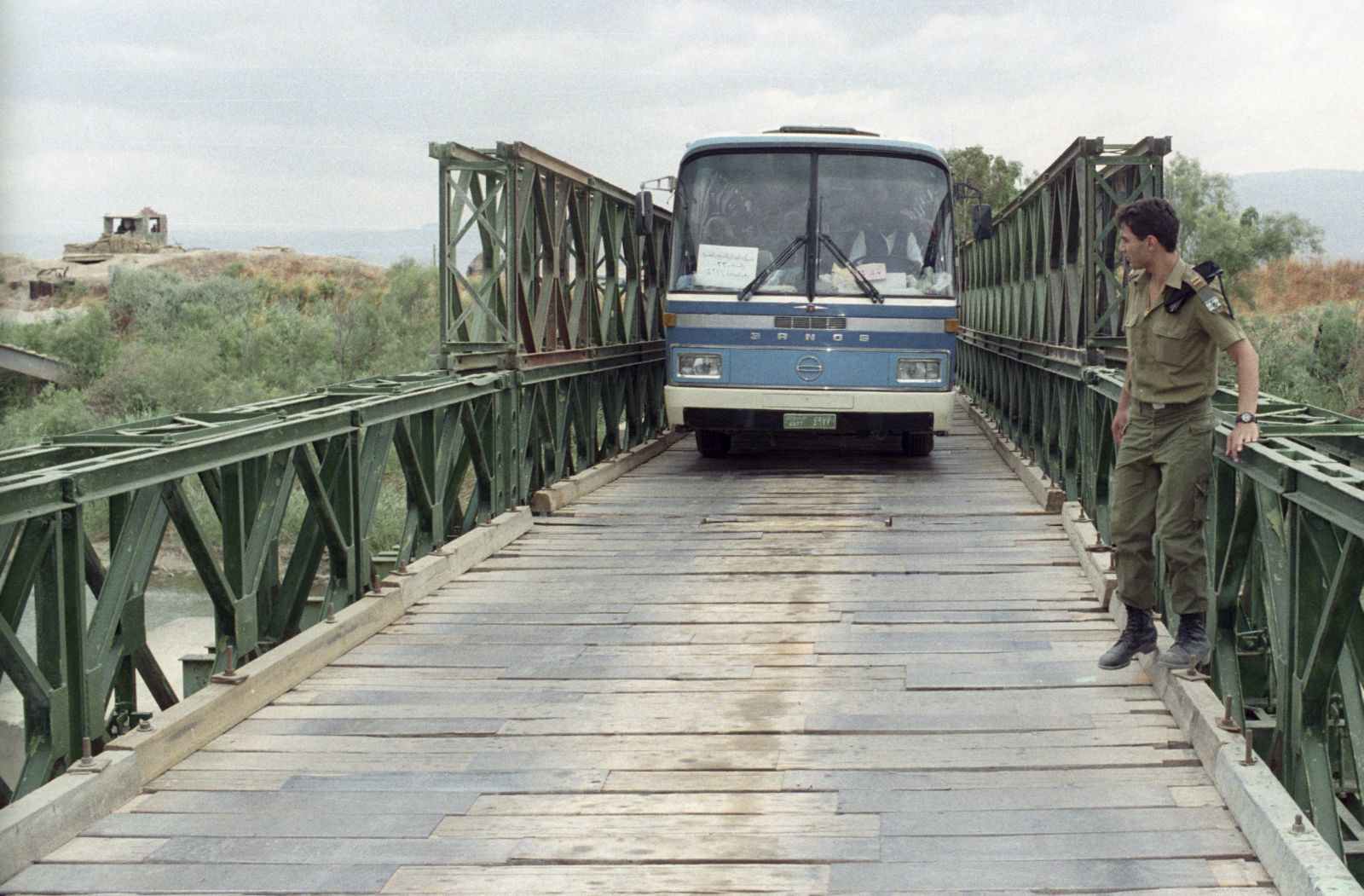 A bus crosses the Allenby Bridge in this file photo from 1992. Photo by FLASH90