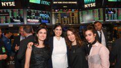 Liat Mordechay Hertanu; Karen Haruvi; Tzameret Fuerst; and Noa Raviv on the floor of the New York Stock Exchange. Photo by Shahar Azran