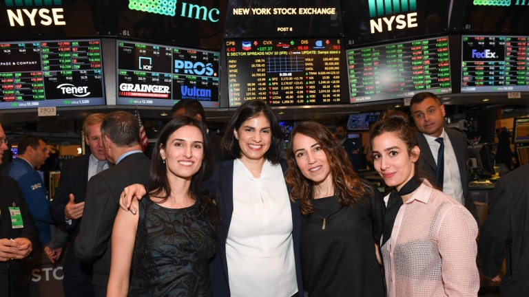 Liat Mordechay Hertanu; Karen Haruvi; Tzameret Fuerst; and Noa Raviv on the floor of the New York Stock Exchange. Photo by Shahar Azran